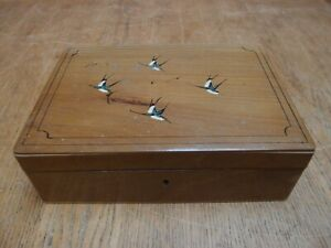 ANTIQUE 1930's BEECH JEWELLERY BOX with PAINTED SWALLOWS