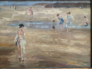 Art Deco Painting On Wood Nude Bathers