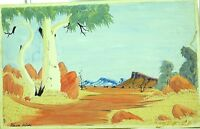 .LARGE KEVIN WIRRI (1953-) HERMANNSBURG SIGNED WATERCOLOUR ON BOARD.