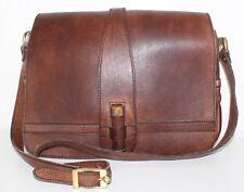True vintage Goldpfeil funda de cuero marrón bandolera Leather satchel Bag VTG