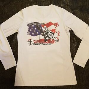 Ladies barrel racing I stand for the flag shirt Xs, S, M, L, XL