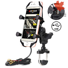 Motorcycle Cell Phone Mount Holder with USB Charger- for Any Smartphone & GPS...