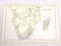 1888 Antik Map Of South Afrika Umhang Stadt Madagaskar 19th Century Blackie &