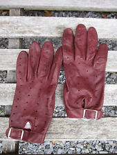 Vtg Sleep'S Leather Motorcycle Driving Perforated Gloves Burgundy England Rare