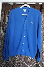 Vintage 70s Lacoste Cardigan Deep Blue Rockabilly!  Sz L  B5