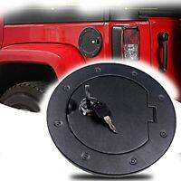 1X(Upgraded Aluminum Locking Gas Tank Cap Fuel Filler Door Cover for Jeep W1M4)