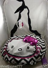 Hello Kitty purse tote bag black and white pink 3d bow zig zag print