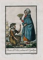 1780 - Calais France people costume engraving gravure Kupferstich antique