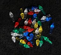 Plastic Christmas Bulb Shaped Replacement Light Pegs Ceramic For Tree Lot Of 35