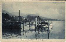 Luino Lago Maggiore Italien s/w Postkarte ~1920/30 Boot am Anleger Schiff Ship