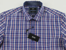 Men's HUGO BOSS Periwinkle Blue Plaid LOK Shirt M Medium NWT NEW $145+ Nice!