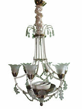 Vintage Venetian Murano Chandelier Frosted Crystal Solid Brass High Quality