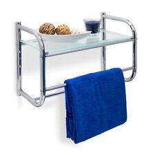 Wandregal Edelstahl & Glas-Ablage mit Handtuchhalter Badregal 2 Handtuchstangen