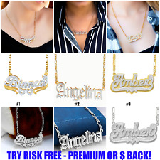 Personalized Double Plated 925 Sterling Silver 18K Gold Plated ANY NAME Necklace