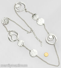 Chico's Signed Necklace Long Silver Tone Chain Hammered Disks Rings NWOT