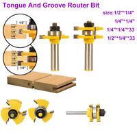 2 Stück Fräser Set Groove und Tongue Router Bit 1/2 1/4 Zoll Schaft Holzfräser