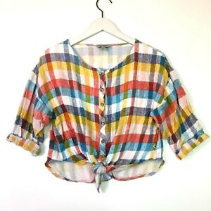 Lucky brand checkered plaid short sleeve button front crop top size xl