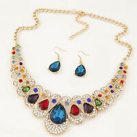 Women Rhinestone Waterdrop Pendant Necklace Shiny Earrings Jewelry Set Bluelans