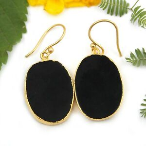 Gorgeous Black Agate Slice Yellow Gold Plated Gifts Earrings For Women Girls