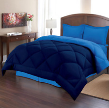Comforter Set King Size Bed in a Bag Blue Navy Bedding Reversible Bed 3 pieces