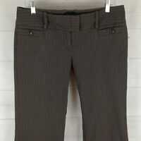 The Limited Drew Fit womens size 8 stretch brown striped flat boot dress pants