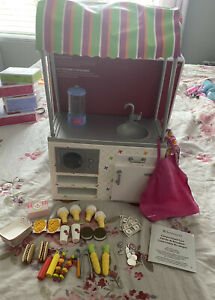 American Girl Doll CAMPUS SNACK CART Hot Dogs, Ice Cream, French Fries, Money +