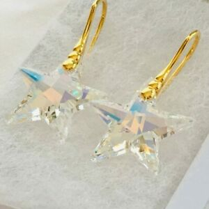925 Sterling Silver Gold Star Earrings Aurora AB Made With Swarovski® Crystals