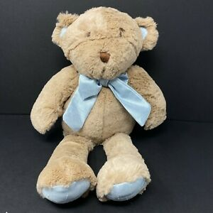 Cocalo Baby Brown Bear Plush Blue Satin Bow Hands Feet Lovey Stuffed Animal Toy