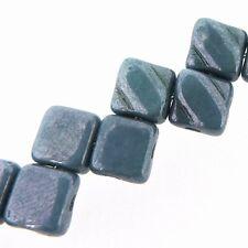 Blue Luster 6mm Silky Diamond Glass Czech 2-Hole 40pc Tile Beads