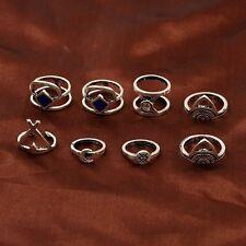 8PCS Boho Evil Eye Vintage Midi Ring Sets Moon Arrow Carved Knuckle Joint Rings