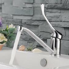 Waterfall Chrome Round Kitchen Sink Mixer Taps Singl Lever Mono Swivel Spout Tap