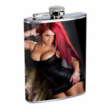 Rock & Roll Pin Up Girls D4 Flask 8oz Stainless Steel Hip Drinking Whiskey