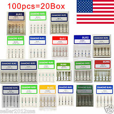 100pcs HOT Dental Diamond Burs Medium FG1.6mm for High Speed Handpiece USA DIA