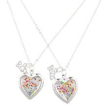 Lux Accessories Silver Tone Confetti Heart BFF Best Friends Necklace Set (2PCS)