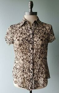 Ann Taylor Petites Size 4P Brown Beige Floral Silk Button-Front Shirt Blouse V8