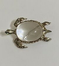 VINTAGE GORGEOUS DECO RHINESTONE JELLY BELLY TRIFARI STERLING TURTLE BROOCH PIN