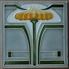ANTIQUE ART NOUVEAU MAJOLICA TILE - BELGIUM HELMAN C1900