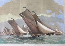 c1864 SAILING BARGE RACE ON THE THAMES, original woodcut engraved print colour