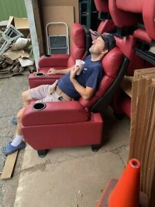 Lot 90 used HOME THEATER SEATING real cinema movie chairs manual recliners red