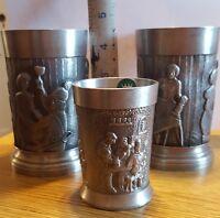 LOT OF 3 Vintage TAVERN SCENE Pewter Cup Grenningloh Germany SKS DESIGNS