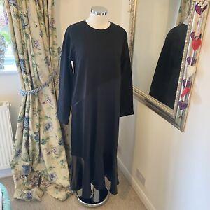Zara M 10 12 black long sleeve satin skirt long midi dress floaty blogger fav GC
