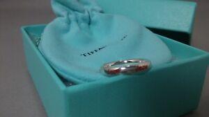 Tiffany & Co Paloma Picasso Graffiti Red Enamel Love Ring Sterling Silver 4.5