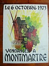 AFFICHE VENDANGES A MONTMARTRE CUVEE 1973- LOUIS GUILLET- SIGNÉ AVEC DÉDICACE
