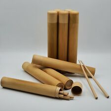 Bamboo 4 Pairs Reusable Chopsticks with Hand Crafted Tube Case - Travel Set