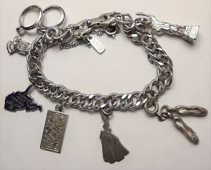 Vintage Monet Costume & Sterling Silver Charm Bracelet-WVA-Ballerina-Lady-Rings+