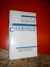 1985 PLYMOUTH CARAVELLE FACTORY OWNERS MANUAL OPERATORS GLOVE BOX BOOK