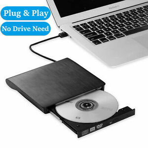 Slim External USB 3.0 .DVD RW CD Writer Burner Reader Player For Mac Laptop PC