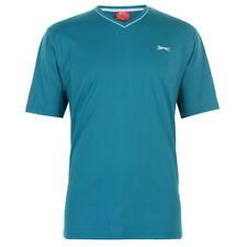 ✅ SLAZENGER Herren T-Shirt V Ausschnitt Sport Fitness Sommer Freizeit Türkis NEU