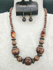 Vintage Bohemian Style Brown Chunky Wood Bead Necklace Dangle Hook Earring Set
