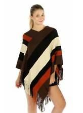 Poncho Stole Cape Shrug Shawl Top Jumper Sweater Color Block Stripes Fringe Chic
